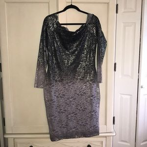Silver grey lace Midi dress